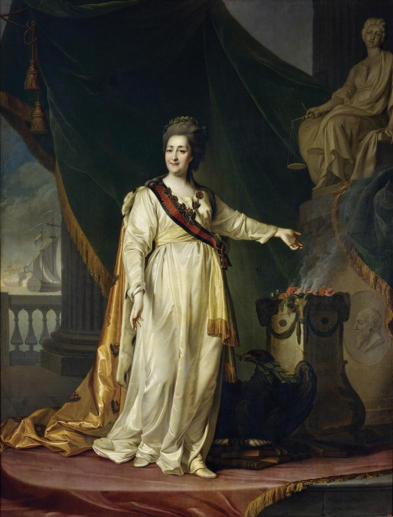 Tsarina Catherine II the Great of Russia (1762-96) in a portrait by Dmitry Levitsky: she harboured hopes of occupying Malta.