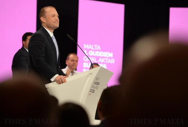 Prime Minister Joseph Muscat addresses the crowd at the Labour Party's General Conference in Hamrun on April 21. Photo: Matthew Mirabelli