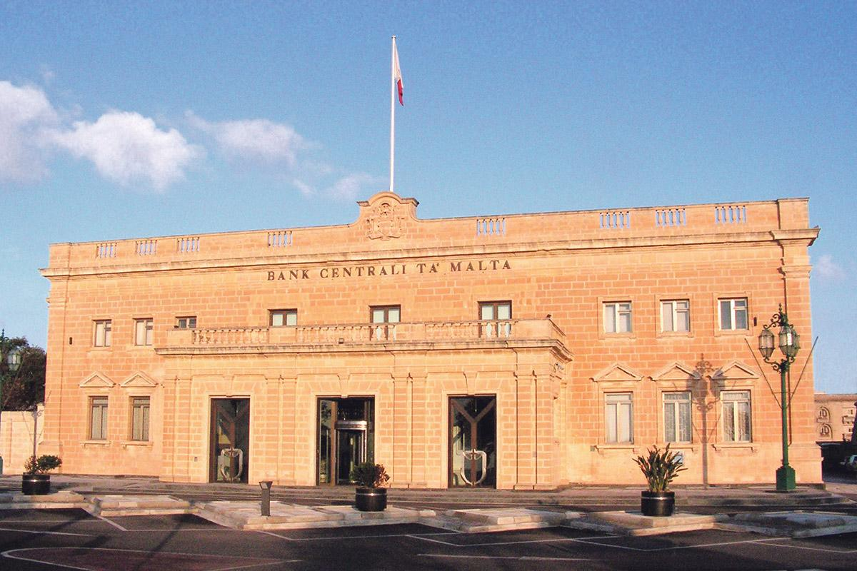 The façade of the Central Bank of Malta in Castille Square.