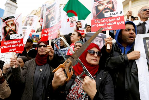 A woman takes part in a protest opposing the visit of Saudi Arabia's Crown Prince Mohammed bin Salman in Tunis, Tunisia, November 27, 2018. File photo: Reuters