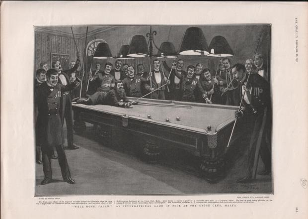 Game of pool between Japanese and English soldiers at the Union Club, 1902.