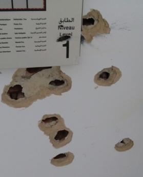 More bullet holes go all the way from the ground floor of the museum to the first floor.