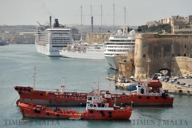 Ships moored in Grand Harbour on October 12. Photo: Chris Sant Fournier