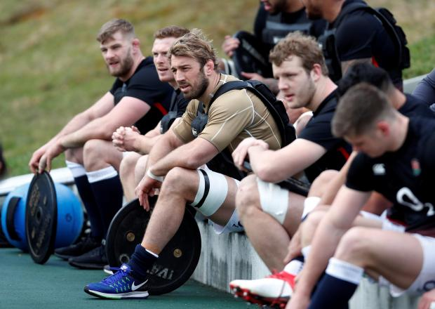 England's Chris Robshaw and team mates during training.