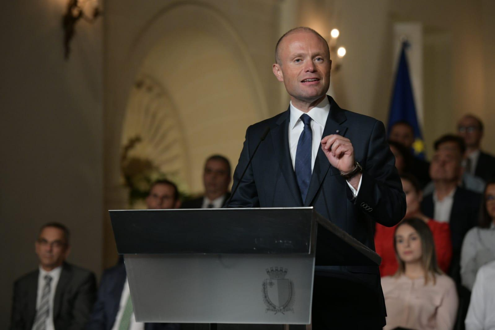 Joseph Muscat speaking at Castille. Photo: Matthew Mirabelli