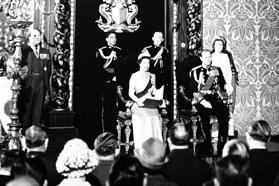 The Queen delivering the speech from the throne at the State opening of Parliament at the Palace, Valletta, in 1967.