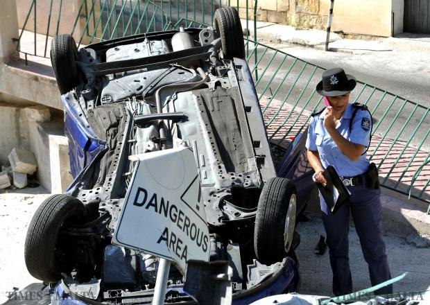 A driver, 26, and his passenger, 34, both of Naxxar, were injured when the car they were in overturned in Mannarino Road, Birkirkara, on August 10. Photo: Chris Sant Fournier