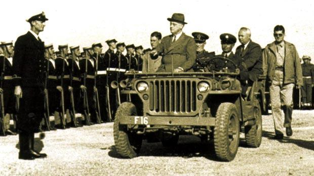 Roosevelt inspecting the Navy contingent.