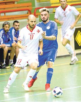 Dylan Musu launching an attack for Malta against San Marino in the friendly match at the Corradino Pavilion. Photo: Wally Galea