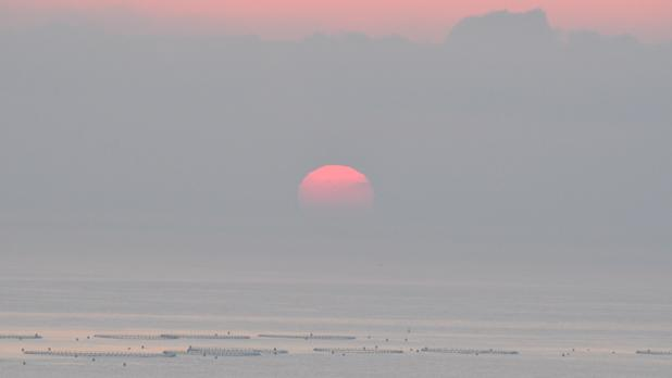 The sun rises over the fish farms as seen from Selmun. Photo: Kris Borg