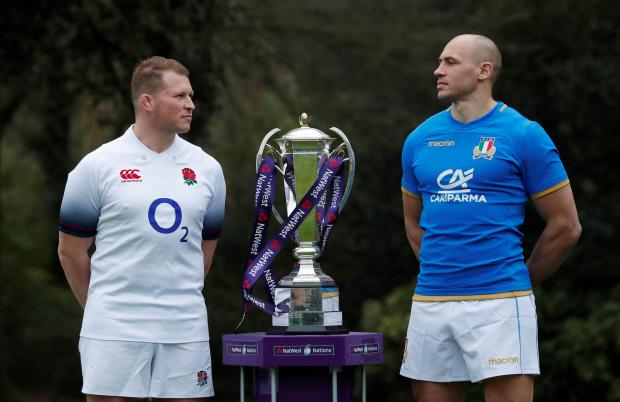 England's Dylan Hartley and Italy's Sergio Parisse pose during the launch.