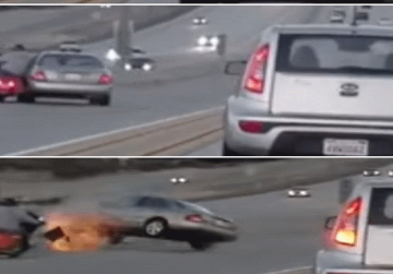 Watch: Two wheels beat four in California road rage incident