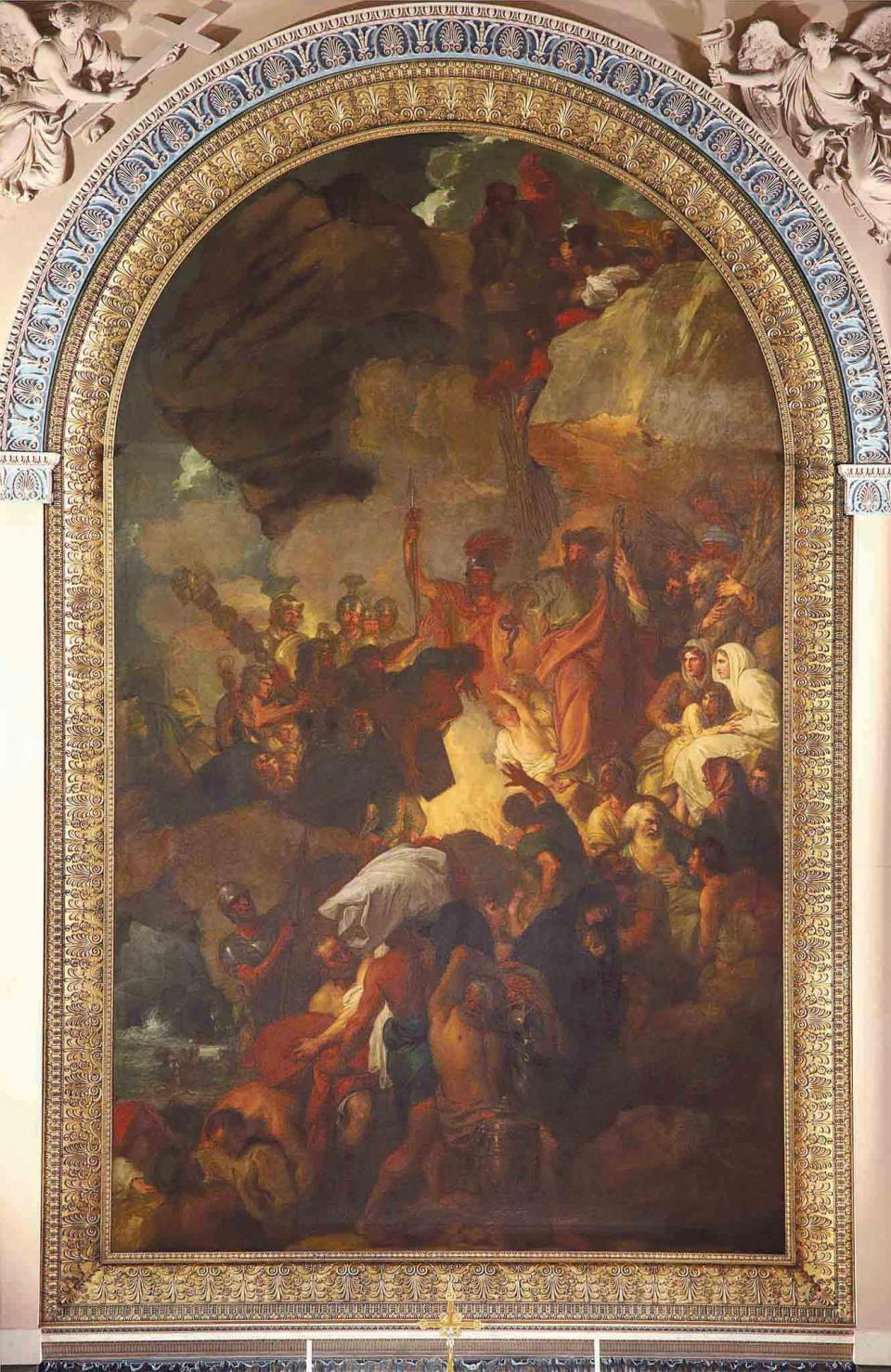 St Paul and the Viper by Benjamin West – the altarpiece in the Chapel of Saints Peter and Paul, in the Old Royal Naval College at Greenwich, UK. Courtesy of Deborah Robson, chapel manager.