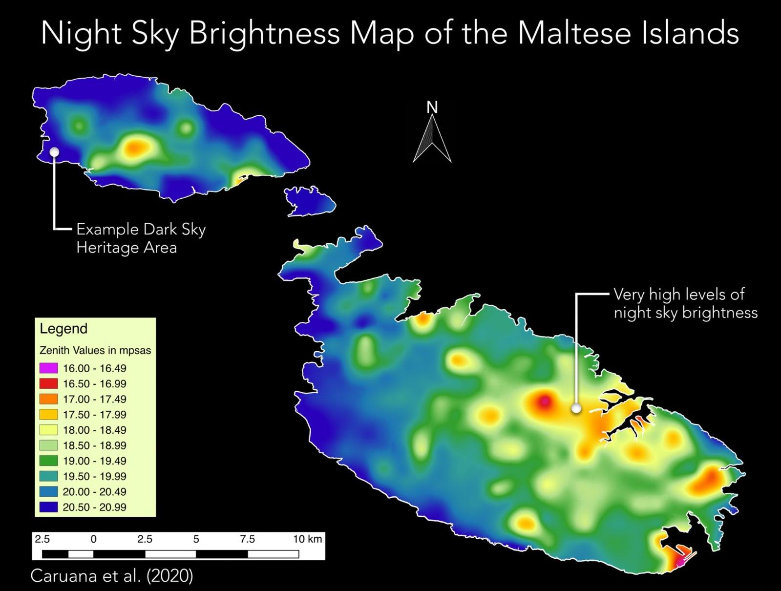 A map of the night sky brightness of the Maltese Islands from a study published in 2020. The darkest sites are shown in blue.
