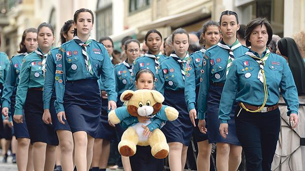 Girl Guides marched down Republic Street in Valletta yesterday during this year's Scouts and Guides parade. The Scout Association of Malta and the Malta Girl Guides teamed up to organise the parade, which started with Mass at the Catholic Institute in Floriana and ended with President Marie-Louise Coleiro Preca taking the salute of all Scout and Guide groups in St George's Square. Photos: Matthew Mirabelli