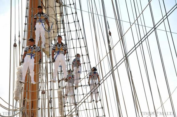 Sailors perch on the rigging of the Mexican Navy training ship Cuauhtémoc as she sails into Grand Harbour on August 21. Photo: Chris Sant Fournier