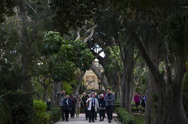 Tourists visit San Anton Gardens in Attard on February 18. Photo: Darrin Zammit Lupi