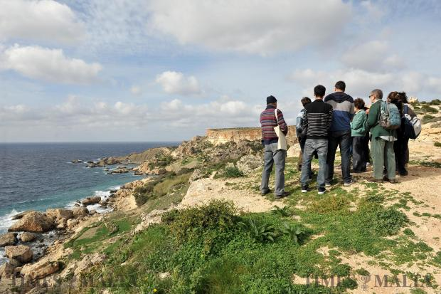 A group is taken on tour around the Majjistral Nature Park on November 26. The park has recently been at the centre of controversy since hunting and trapping hours have been extended. Photo: Chris Sant Fournier