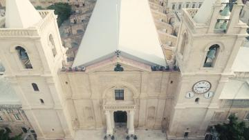 Aerial footage of the restored co-Cathedral facade.
