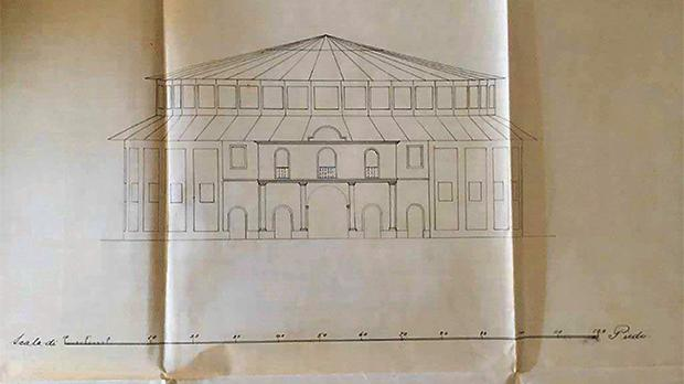 Drawing of the elevation of the proposed new Britannia Circus by Architect Annibale Lupi. Courtesy of the National Archives, CSG 01/653/1903.