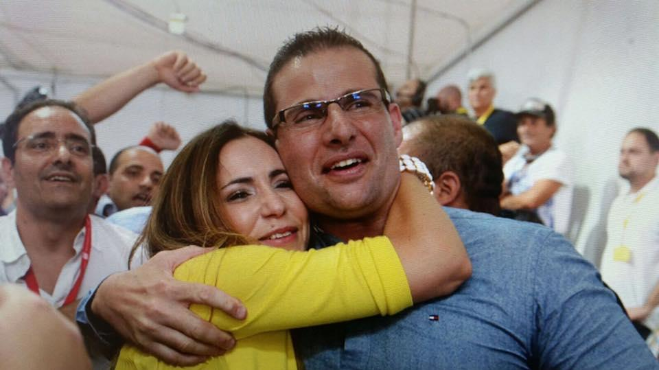 Robert Abela and his wife Lydia during the 2017 general election. Photo: Facebook/Lydia Abela