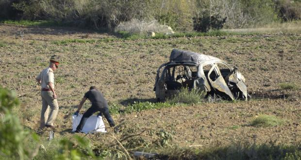The wreckage of Daphne Caruana Galizia's car. Photo: Mark Zammit Cordina