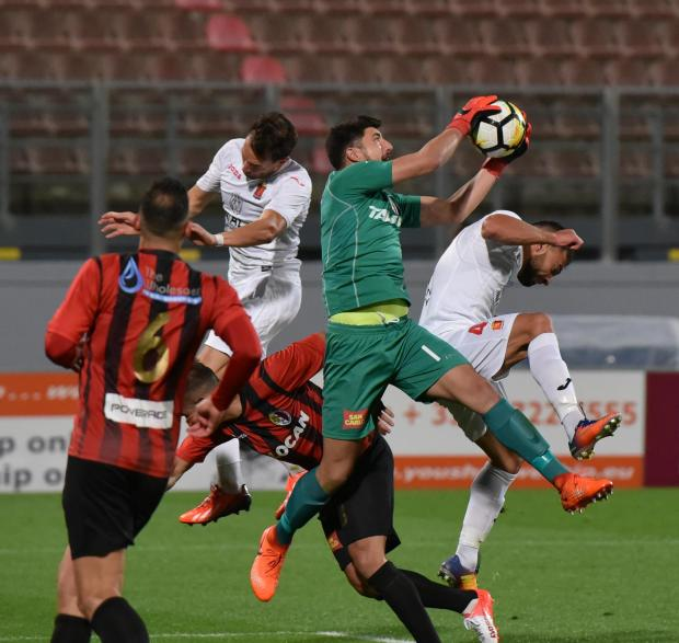 Hamrun Spartans Goalkeeper Steve Sultana jumps to grab the ball in a match held on November 19 at Ta Qali Stadium. Photo: Mark Zammit Cordina