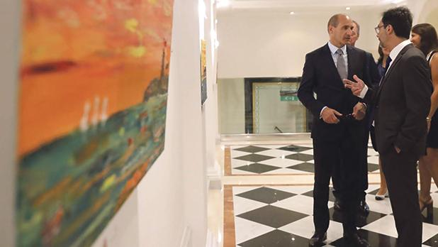 Health Minister Chris Fearne at the exhibition.