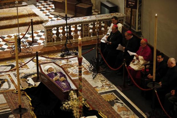 Archbishop Emeritus Joseph Mercieca lies in state in the Oratory of St John's Co-Cathedral in Valletta on March 21. The 87-year-old former archbishop passed away earlier in the day. Photo: Darrin Zammit Lupi