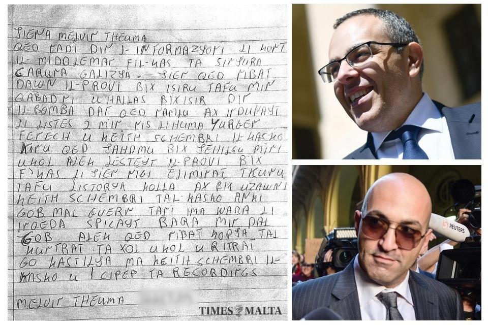The letter Melvin Theuma wrote implicating Keith Schembri (top right) and Yorgen Fenech (bottom right).