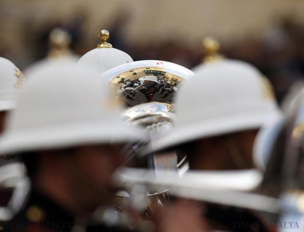 Armed Forces of Malta bandsmen take part in a military parade to mark Malta's Republic Day in Valletta on December 13. Malta, a former British colony, became a republic in 1974, 10 years after gaining independence. Photo: Darrin Zammit Lupi
