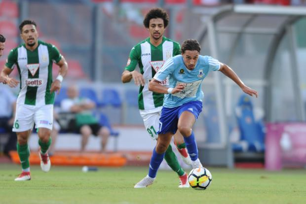Younes Marzouk of Sliema Wanderers attempts to move away from Emerson Marcelina of Floriana. Photo: Stephen Gatt