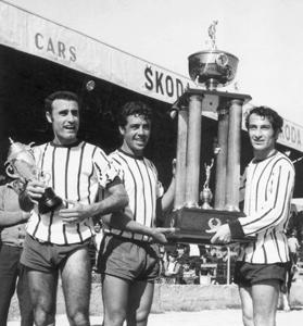 Hibernians players (from left) Edward Azzopardi, Charlie Micallef and Eddie Theobald parade the Sons of Malta Cup trophy after beatingSliemaWanderers in the 1970 final.