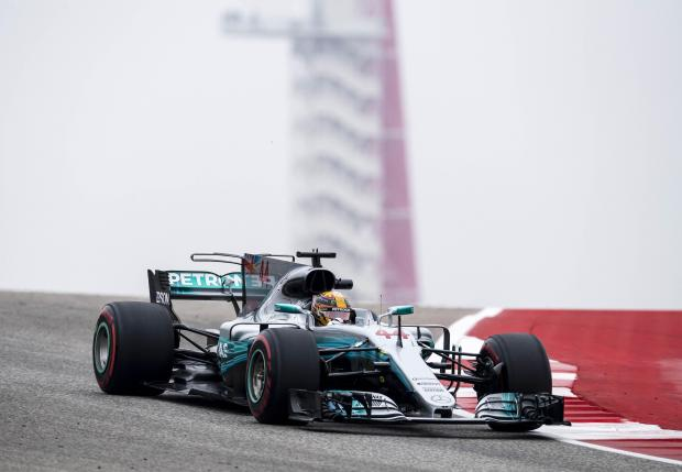 Mercedes driver Lewis Hamilton (44) of Great Britain during practice for the United States Grand Prix.