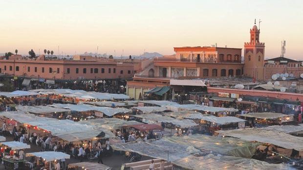View over Jamaa el-Fnaa at sunset.