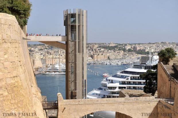 Tourists use the Barrakka lift in Valletta on May 20. Photo: Chris Sant Fournier