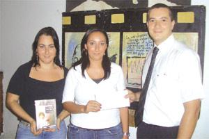 From left, Roberta Grech and Maria Sammut, fund raising and activities coordinators for YMCA Homeless with Reuben Vella from Helping Hands during the presentation.