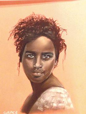 A portrait of an Indian woman by Grace Cassar