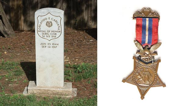 Caruana's grave at Mount Olivet Cemetery, Washington DC. Photo: Tim Evanson. Right: The Medal of Honour awarded to Caruana.