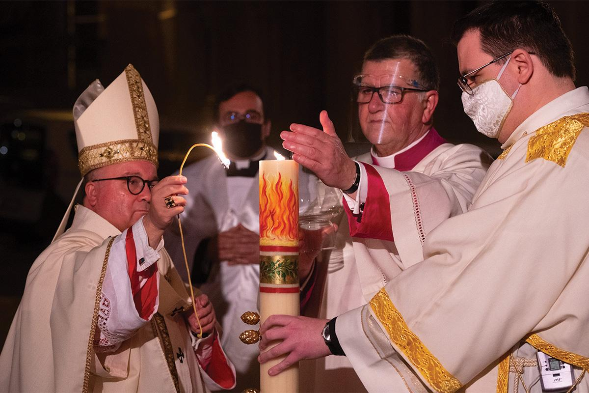 The archbishop presided over the Easter Vigil celebration on Saturday.