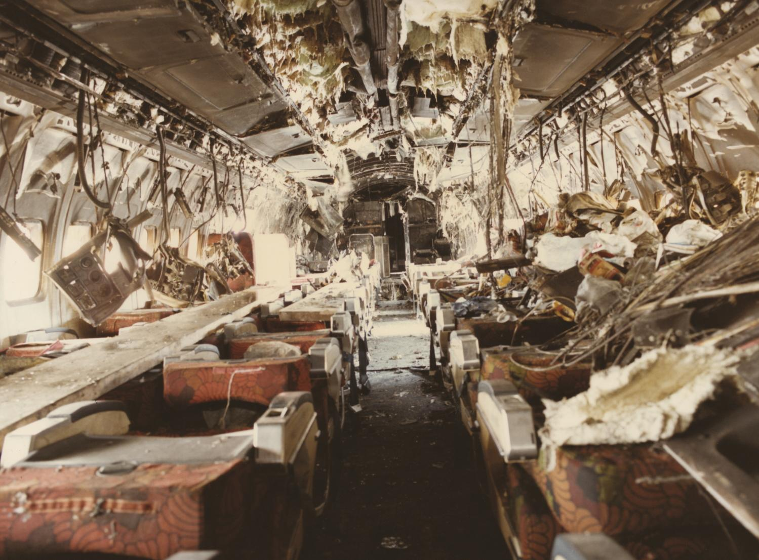 The wreckage inside the plane.