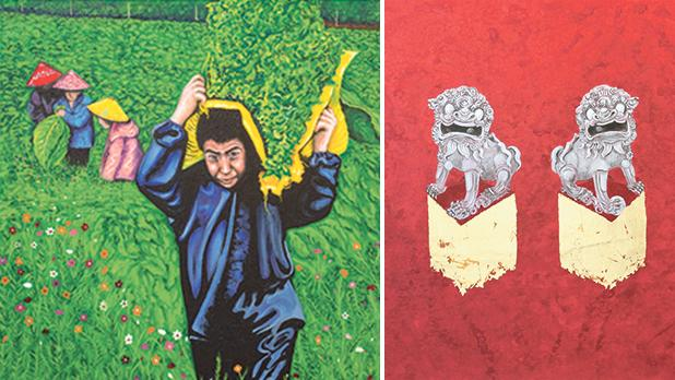 Tobacco Fields, Lucienne Spiteri. Right: Guardians with Five Red Washes and Gold, Damian Ebejer.