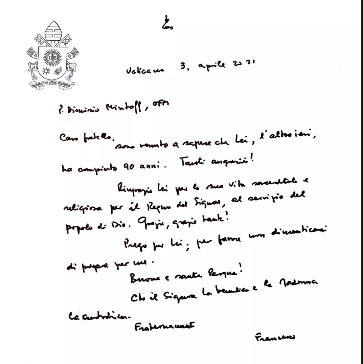 The letter sent by Pope Francis. Photo: Vatican News