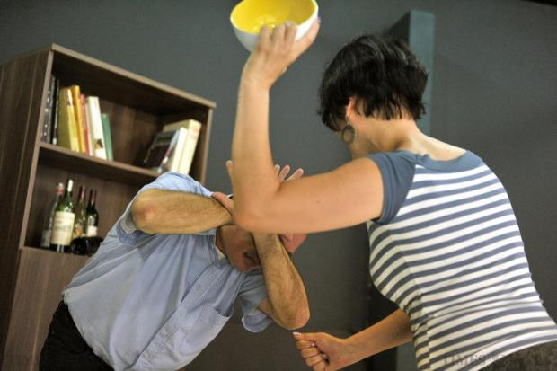A staged photo at the Times of Malta studio to show that although usually emotional, domestic violence on men could be physical as well. Picture taken on June 13. Photo: Jason Borg