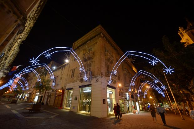 The Christmas lights in Merchant's Street, Valletta are turned on for the Christmas season on November 27. Some 70 businesses along the popular shopping street pitched in to raise €13,000 to help fund the decorative street lighting. Photo: Matthew Mirabelli