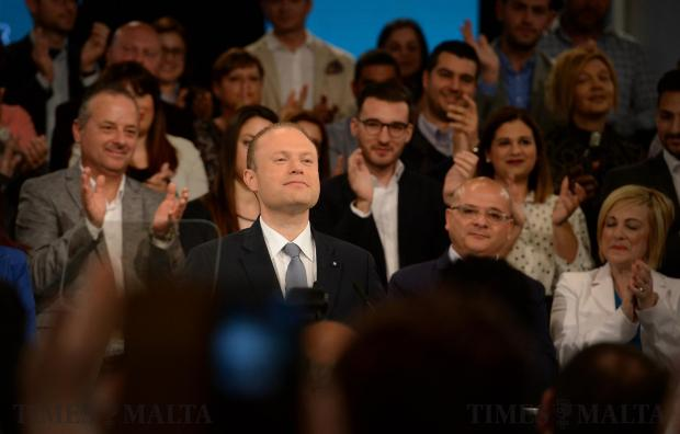 Prime Minister Joseph Muscat addresses the crowd at the Labour Party's General Conference in Hamrun on April 23. Photo: Matthew Mirabelli