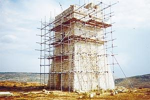 The tower being restored