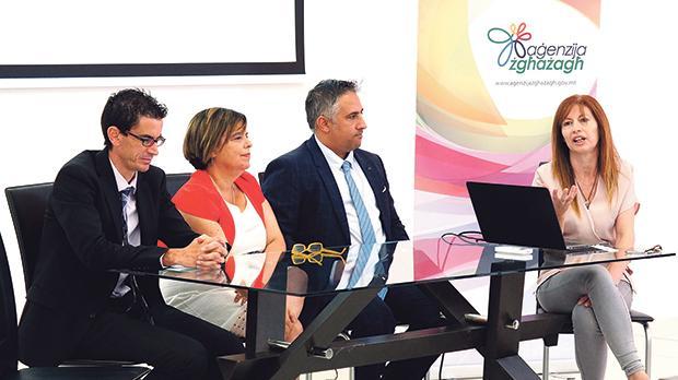 From left: Aaron Mifsud, Miriam Teuma Ryan Borg and Isabelle Mallia, senior professional officer, Aġenzija Żgħażagħ.