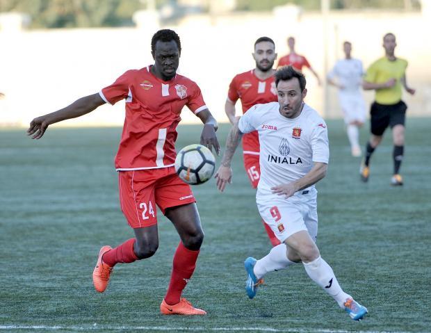 Valletta striker Michael Mifsud eyes the ball against Naxxar. Photo: Chris Sant Fournier