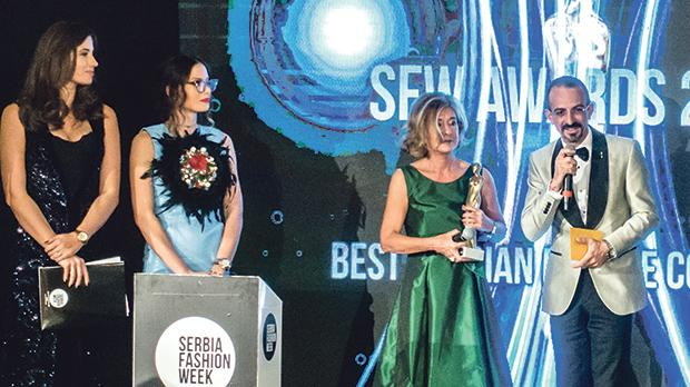 Adrian Mizzi was asked to present the award for best Serbian female collection together with Patricia Gucci.